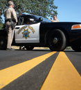 California highway patrol two officers at the site of an accident in nappa valley Royalty Free Stock Photography