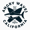 California, Los Angeles - typography for design clothes, t-shirt. Graphic print with shark and surfboard. Surf club apparel. Royalty Free Stock Photo