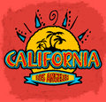 California los angeles vector badge emblem summer tropical heat print Stock Photography