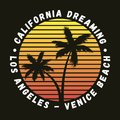 California, Los Angeles, Venice Beach - typography for design clothes, t-shirt with palm trees. Graphics for apparel. Vector.