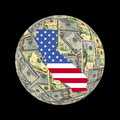 California map dollars globe Royalty Free Stock Photos