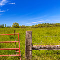 California meadow ranch in a blue sky spring day usa Stock Photo