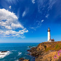 California Pigeon point Lighthouse in Cabrillo Hwy coastal hwy 1 Royalty Free Stock Photo