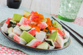 California roll poke deconstructed made with imitation crab cucumber avocado and capelin roe Royalty Free Stock Images