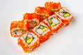 California roll with shrimp, tobiko, avocado and Japanese mayonnaise Royalty Free Stock Photo