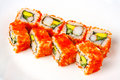 California roll with shrimp, tobiko, avocado and Japanese mayonnaise Royalty Free Stock Photo