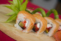 California rolls with bamboo Royalty Free Stock Photo