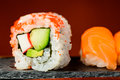 California rolls and nigiri sushi closeup detail of Royalty Free Stock Images