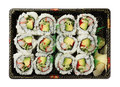 California rolls  sushi tray isolated on white Royalty Free Stock Photos