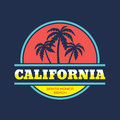 California - Santa Monica beach - vector illustration concept in vintage graphic style for t-shirt and other print production. Royalty Free Stock Photo
