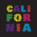 California surf typography, t-shirt graphics, vector
