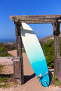 California surfboard on beach in cabrillo highway route state san mateo Royalty Free Stock Image