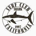 California, surfing - typography for design clothes, t-shirt. Graphic print with shark for apparel. Surf club stamp with grunge. Royalty Free Stock Photo