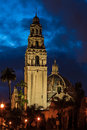 California tower night composition of and museum of man in balboa park san diego Stock Photo