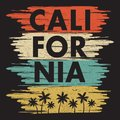 California typography print for design t-shirt with palm trees and gull. Graphic design for apparel, clothes. Vector.