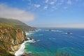 Big Sur, viewpoint, green, landscape, nature, California, United States of America, Usa, cliff, beach, coastline, mist, fog, road Royalty Free Stock Photo