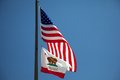 Californian and us flags the american waving in the wind before a blue sky Royalty Free Stock Photos