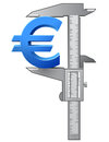 Caliper measures euro symbol graphic concept of measuring size of sign qualitative vector eps illustration for banking financial Royalty Free Stock Photo