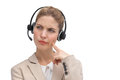 Call center agent wondering something with headset Stock Images