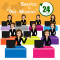 Call center for best service concept illustration of presented by businessman Stock Photos
