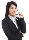 Call center business woman with headset over the white background Royalty Free Stock Image