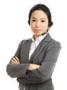Call center business woman with headset white background Stock Photo