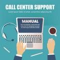 Call center concept, overhead desktop view, vector illustration