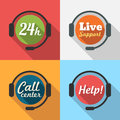 Call center customer service hours support flat icon set Royalty Free Stock Photos
