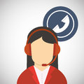 Call center design. Customer service icon. Flat illustration