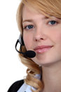 Call center employee taking a Royalty Free Stock Photography
