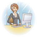 Call center girl customer service representative support in office vector illustration Royalty Free Stock Image