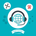 call center headphones global attention help Royalty Free Stock Photo