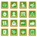 Call center icons set green square vector Royalty Free Stock Photo