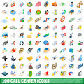 100 call center icons set, isometric 3d style
