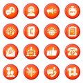 Call center icons set red vector Royalty Free Stock Photo
