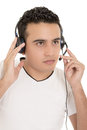 Call center male hispanic operator isolated on Royalty Free Stock Photo