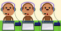 Call center monkeys a funny illustration of with agent jobs Stock Image