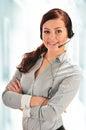 Call center operator customer support helpdesk Stock Photo