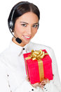Call center operator with a gift box white background copyspace Stock Photography