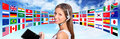 Call center operator global international communications concept Royalty Free Stock Photo
