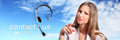 Call center operator with headset and contact us text icon Stock Photo