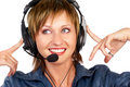 CALL CENTER OPERATOR SMILING Stock Photo