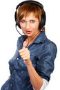 CALL CENTER OPERATOR SMILING Stock Image