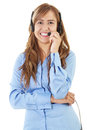 Call center operator stock image of female over white background Royalty Free Stock Photo