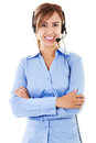 Call center operator stock image of female over white background Royalty Free Stock Image
