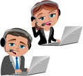 Call center operators illustration featuring bob and meg working as with notebook and headset isolated on white background eps Stock Photos