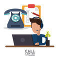 Call center person laptop telephone review