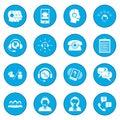 Call center service icon blue