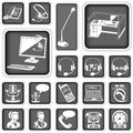 Call center squared icons collection of Stock Photo