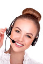 Call center support phone operator in headset isolated stock image Royalty Free Stock Photo